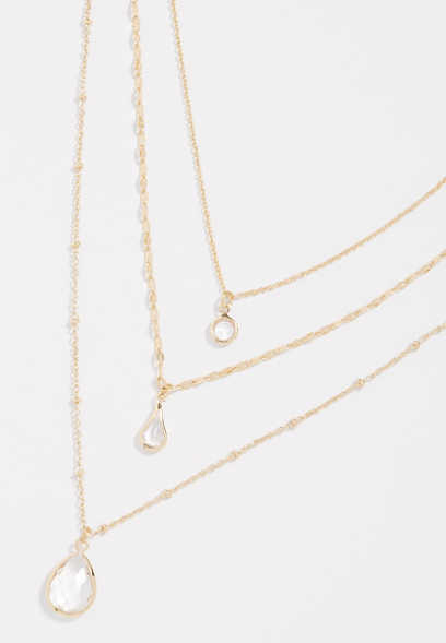 3 row clear stone drape necklace