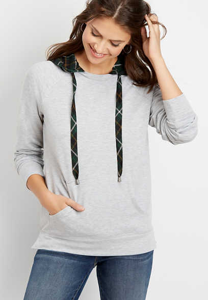 plaid hooded pullover