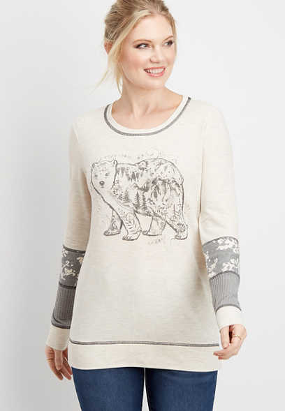 long sleeve bear graphic pullover