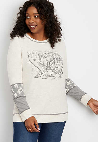 plus size long sleeve bear graphic pullover