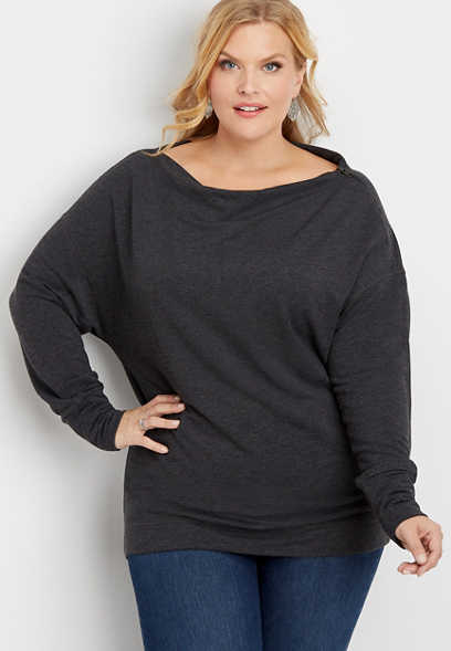 plus size zip shoulder pullover