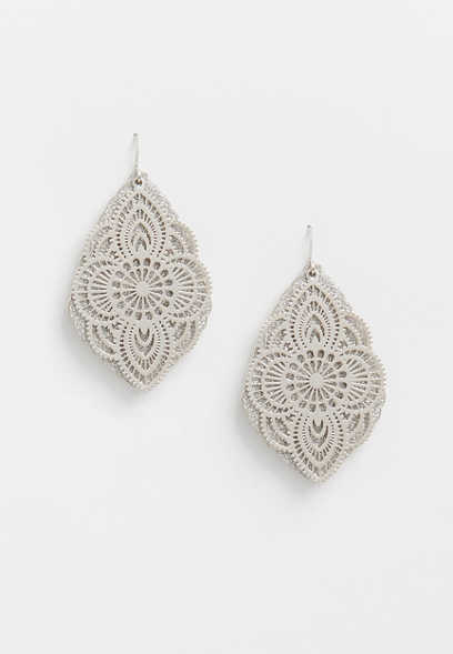 silver glitter overlay drop earrings