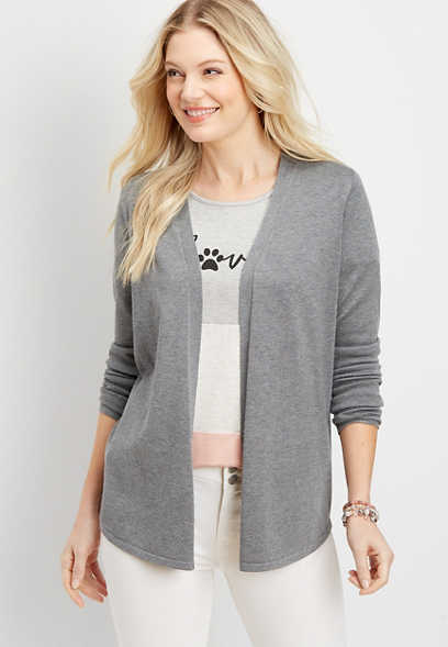 Pointelle Back Open Front Cardigan