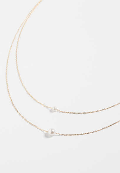 2 row dainty pearl necklace
