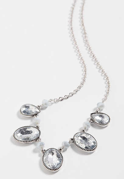 Silver Crackle Drape Necklace