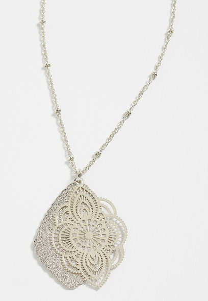 silver glitter overlay pendant necklace