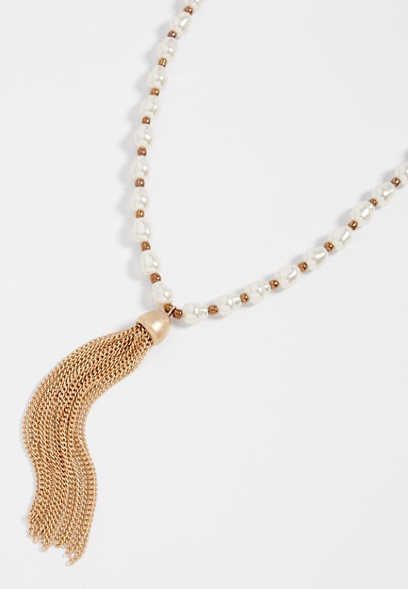 Pearl Tassel Y-Necklace