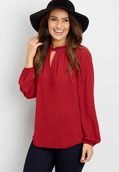 beaded keyhole neck blouse