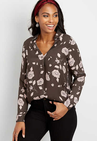 floral popover blouse