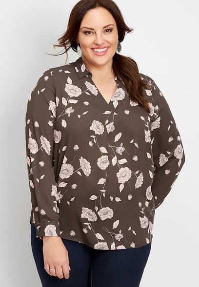 plus size floral popover blouse