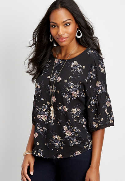 floral chiffon bell sleeve blouse