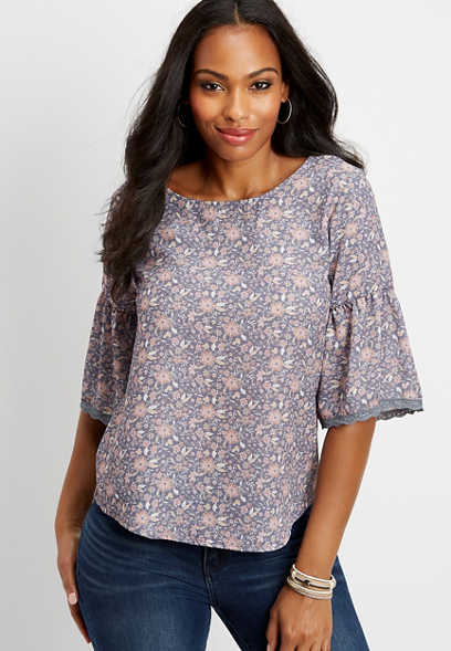 ditsy floral chiffon bell sleeve blouse