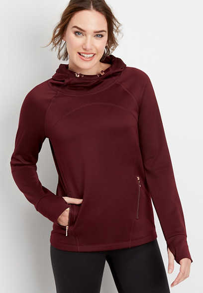 active fleece hooded pullover
