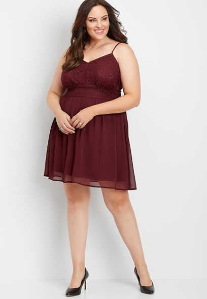 plus size crochet v-neck dress