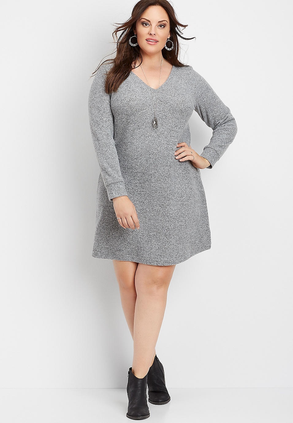 plus size bow back sweater dress