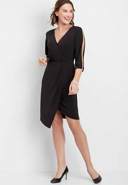 Cold Shoulder Wrap Dress