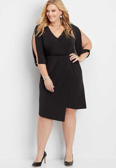 plus size cold shoulder wrap dress