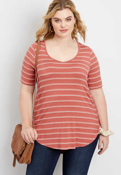 plus size 24/7 Flawless stripe tee