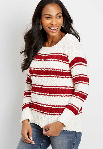 stripe crew neck pullover