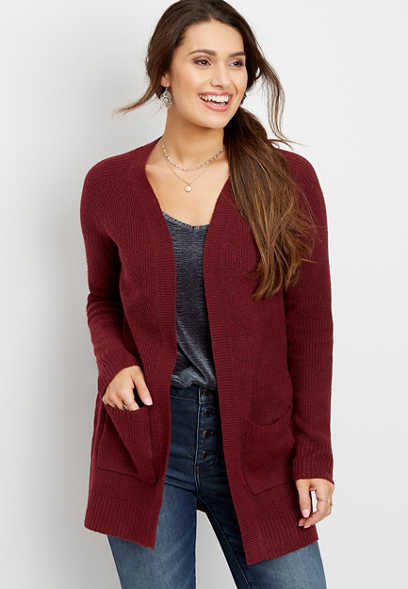 solid open neck cardigan