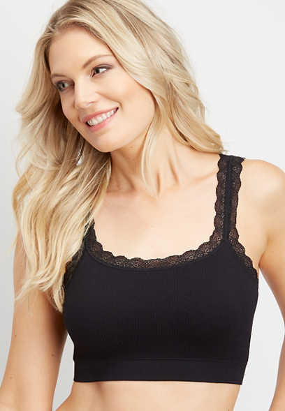 Ribbed Lace Seamless Bralette