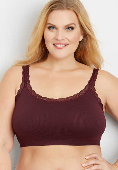 plus size ribbed lace seamless bralette