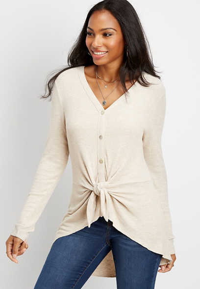 long sleeve front tie duster tee
