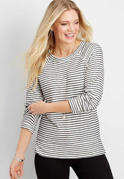 stripe textured pullover
