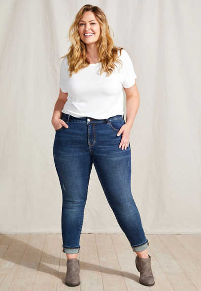 Plus Size Vintage High Rise Dark Wash Cuffed Jegging