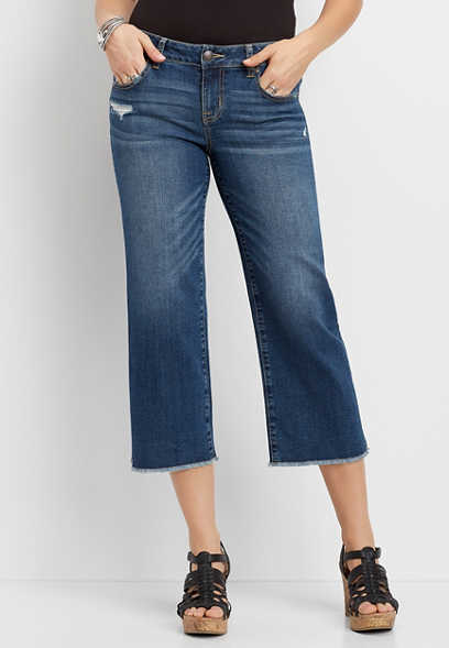 DenimFlex™ Dark Wash Wide Leg Cropped Jean