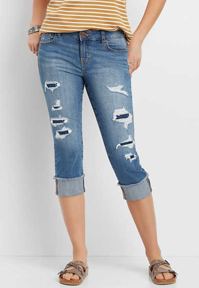 DenimFlex™ medium wash destructed cuffed capri