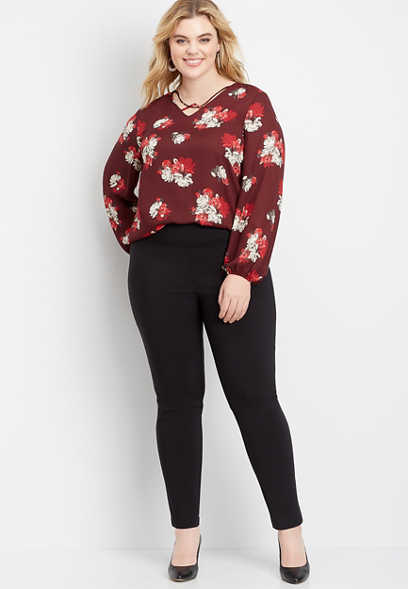 plus size pull on bengaline skinny ankle pant