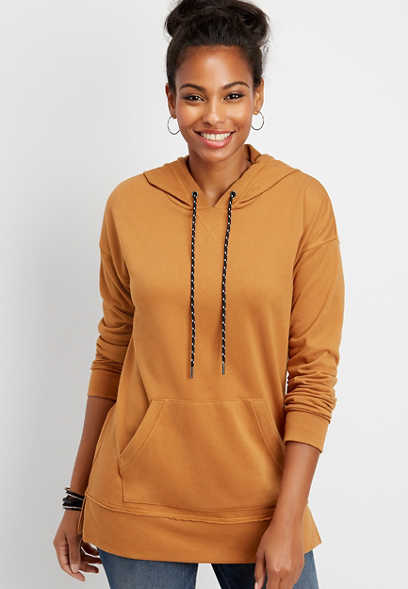 solid tunic pullover hoodie