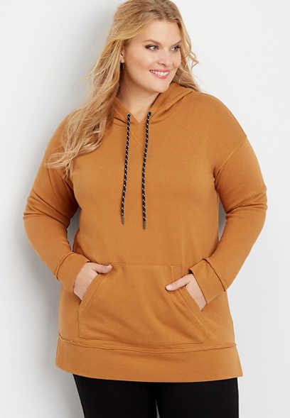 plus size solid tunic pullover hoodie