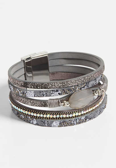 gray multi row magnetic bracelet