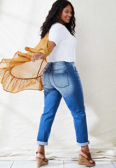 Plus Size KanCan™ Medium Wash Destructed Boyfriend Jean