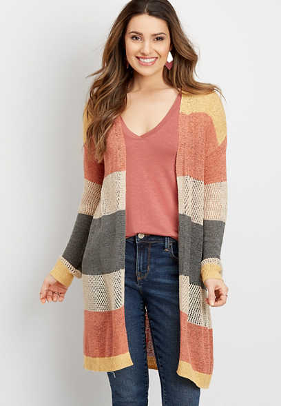 colorblock open stitch duster cardigan