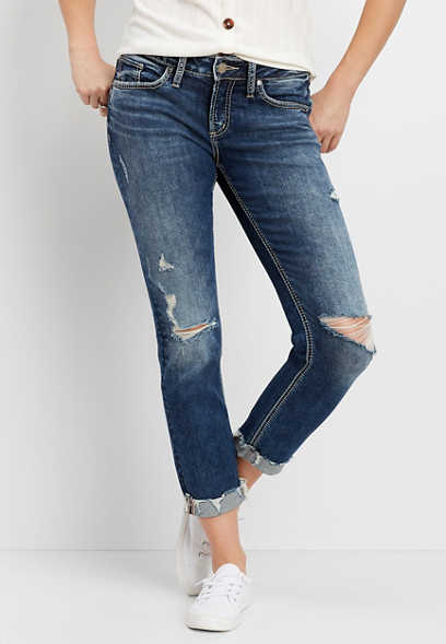 Silver Jeans Co.® Destructed Cuffed Boyfriend Jean