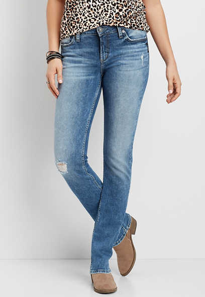 Silver Jeans Co.® Elyse Destructed Straight Leg Jean