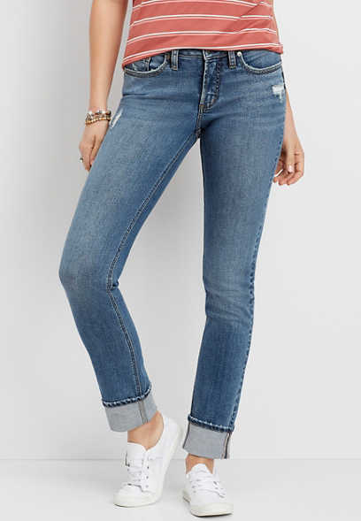 Silver Jeans Co.® Suki Medium Wash Cuffed Slim Straight Leg Jean