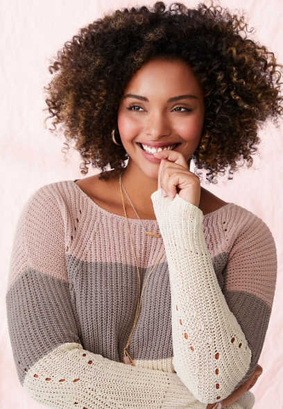 color block chenille pullover sweater