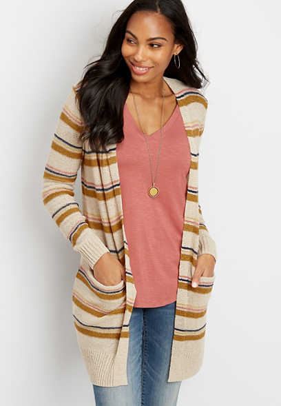 stripe open front duster cardigan