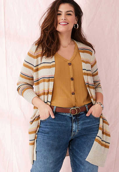 plus size stripe open front duster cardigan