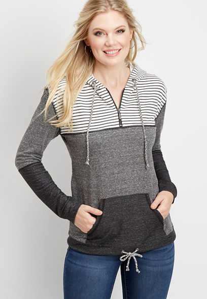 stripe colorblock zip neck hoodie