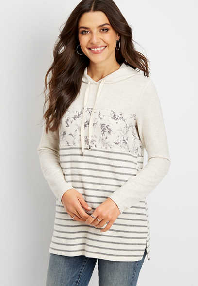 floral mix colorblock tunic hoodie