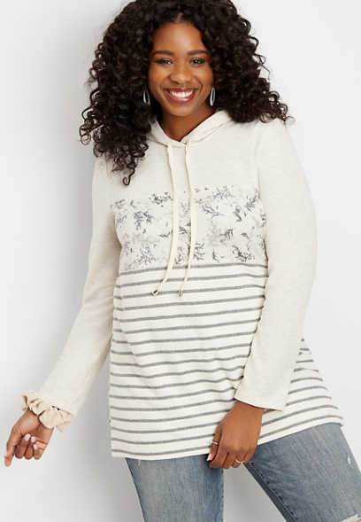 plus size floral mix colorblock tunic hoodie