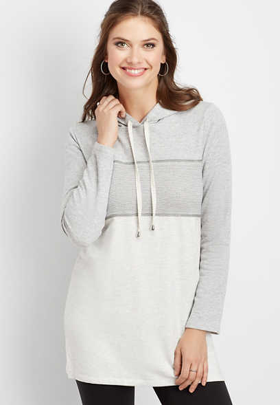 stripe mix colorblock tunic hoodie
