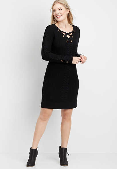 grommet lace up sweater dress