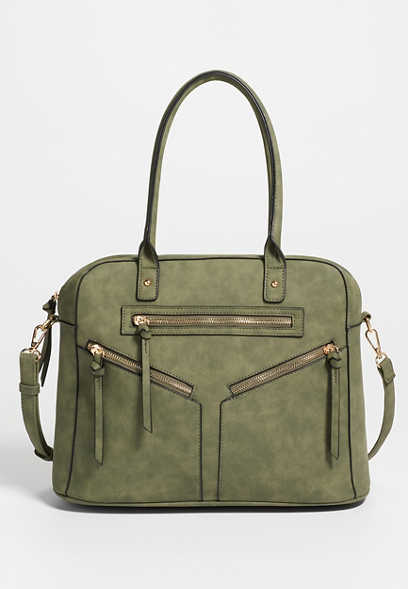 Triple Zipper Satchel