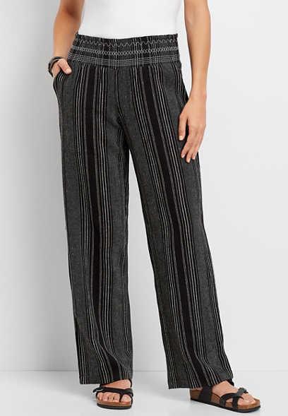 stripe linen wide leg pant